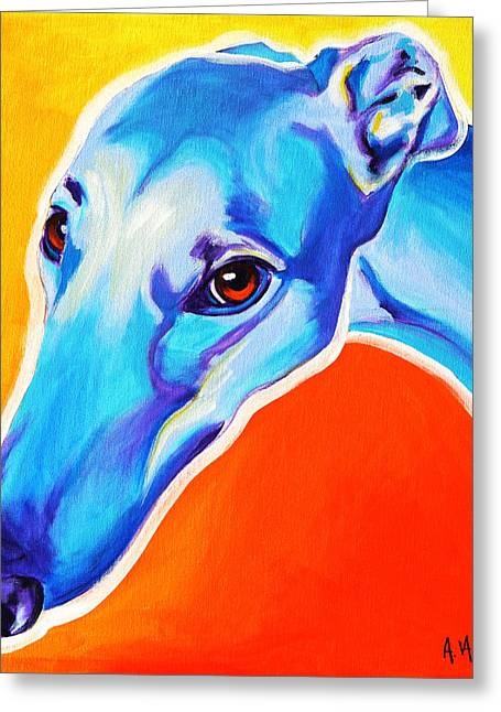 Alicia Vannoy Call Paintings Greeting Cards - Greyhound - Lizzie Greeting Card by Alicia VanNoy Call