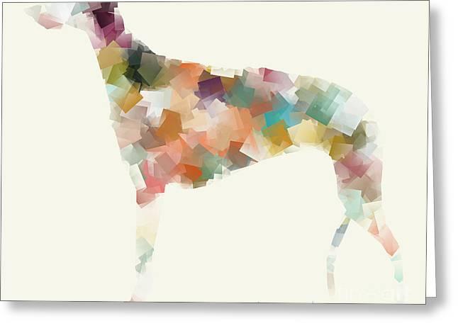 Greyhound Dog Digital Greeting Cards - Greyhound Modern Greeting Card by Bri Buckley