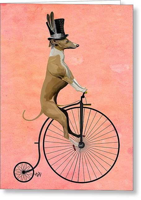 Canine Framed Prints Digital Greeting Cards - GreyHound Pennyfarthing Black Greeting Card by Kelly McLaughlan