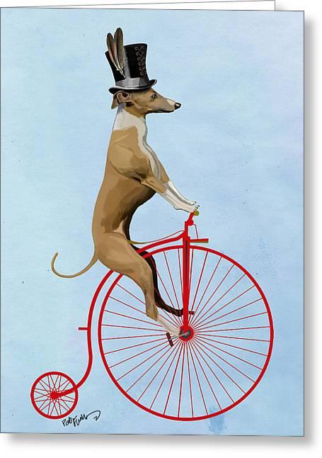 Greyhound Greeting Cards Greeting Cards - GreyHound PennyFarthing Red Greeting Card by Kelly McLaughlan