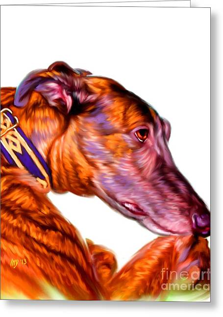 Greyhound Pet Art Greeting Card by Iain McDonald