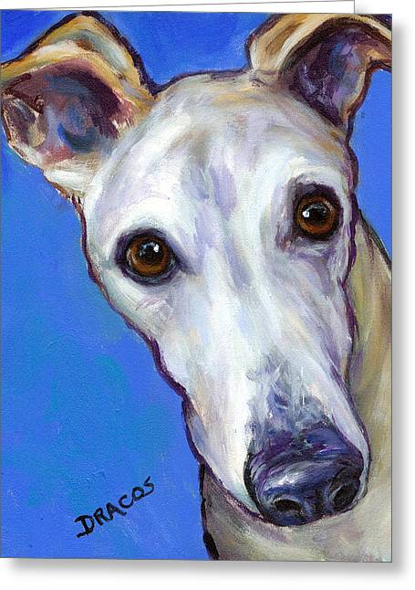 Sight Hound Greeting Cards - Greyhound Portrait on Blue Greeting Card by Dottie Dracos