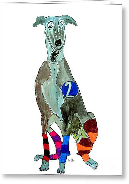 Greyhound Dog Paintings Greeting Cards - Greyhound Racer Trap 2 Greeting Card by Bri Buckley