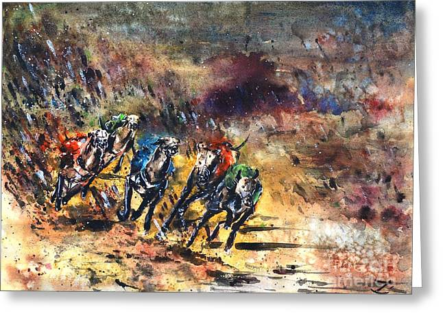Most Paintings Greeting Cards - Greyhound Racing Greeting Card by Zaira Dzhaubaeva
