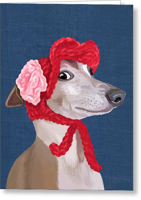 Canine Posters Greeting Cards - GreyHound Red Knitted Hat Greeting Card by Kelly McLaughlan