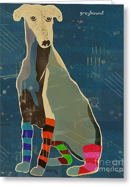 Greyhound Dog Digital Greeting Cards - Greyhound  Greeting Card by Bri Buckley