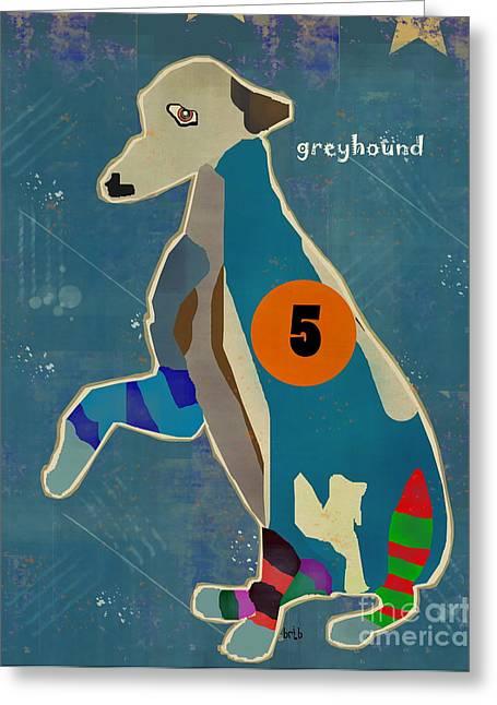 Greyhound Dog Paintings Greeting Cards - Greyhound Trap 5 Greeting Card by Bri Buckley