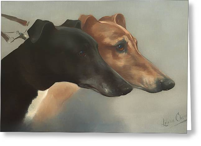 Leash Greeting Cards - Greyhounds  Greeting Card by Cheviot