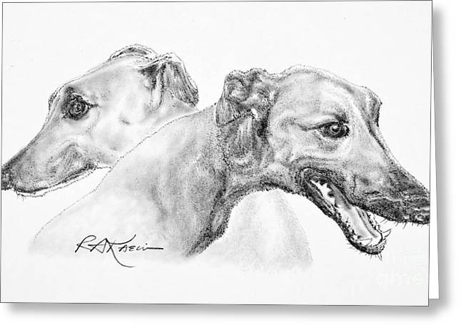 Kaelin Drawings Greeting Cards - Greyhounds for Two Greeting Card by Roy Kaelin
