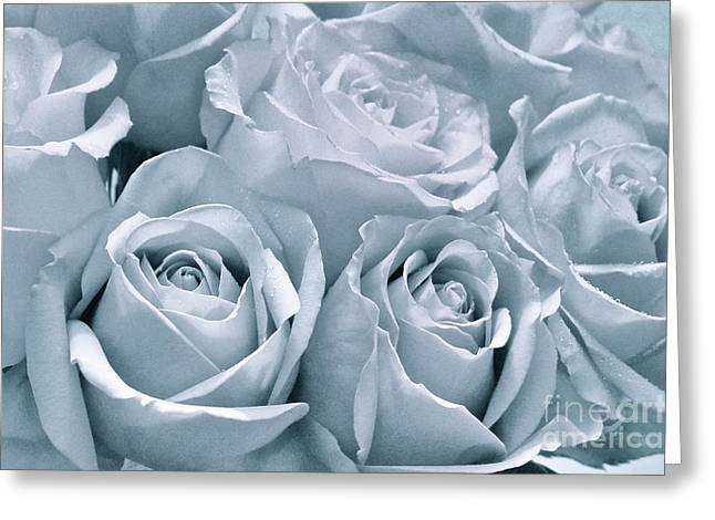 Dripping Rose Greeting Cards - Grayscale Roses Greeting Card by Rachel Cash