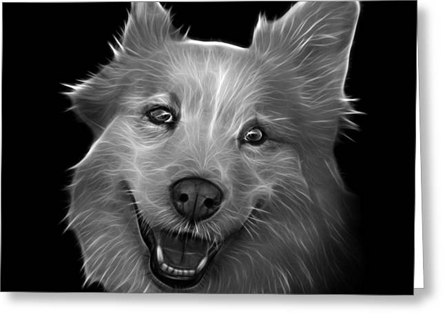 Mixed Labrador Retriever Paintings Greeting Cards - Greyscale Siberian Husky Mix Dog Pop Art - 5060 BB Greeting Card by James Ahn