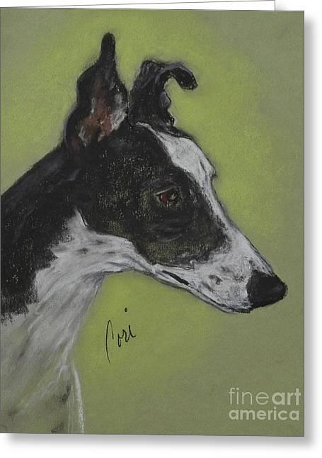 Greyhound Dog Pastels Greeting Cards - Greyt Aspirations Greeting Card by Cori Solomon