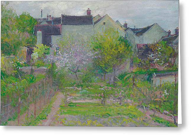 Village Views Greeting Cards - Grez sur Loing Greeting Card by Robert William Vonnoh