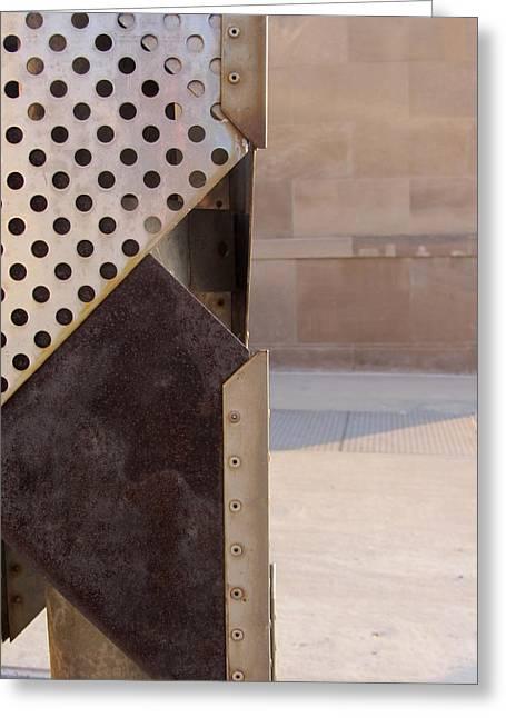 Metal Art Greeting Cards - Grid and Block 2 Greeting Card by Anita Burgermeister