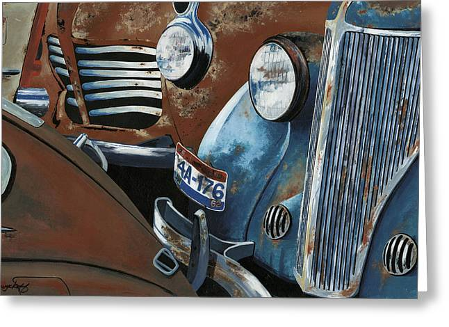 Rusted Cars Paintings Greeting Cards - Gridlock in the Yard Greeting Card by John Wyckoff