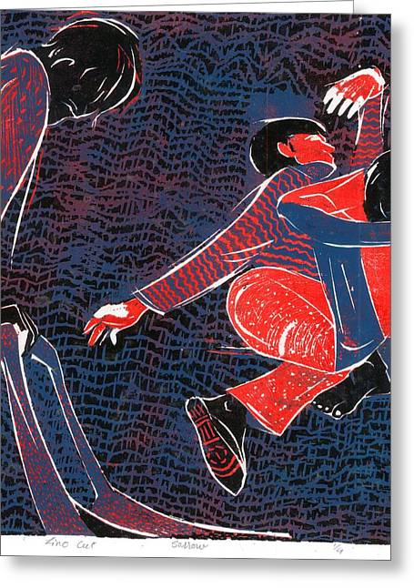 Lino Mixed Media Greeting Cards - Grief Greeting Card by Makarand Joshi