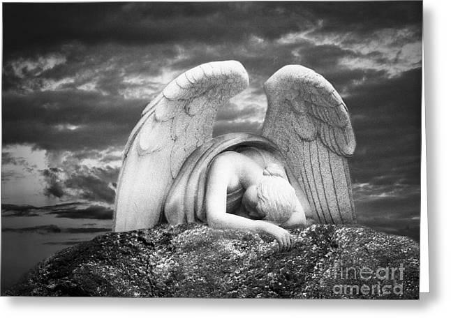Grieving Angel Greeting Card by Olga Zamora