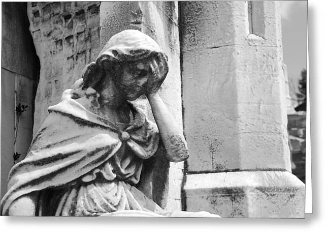 Grieving Statue Greeting Card by Jennifer Lyon