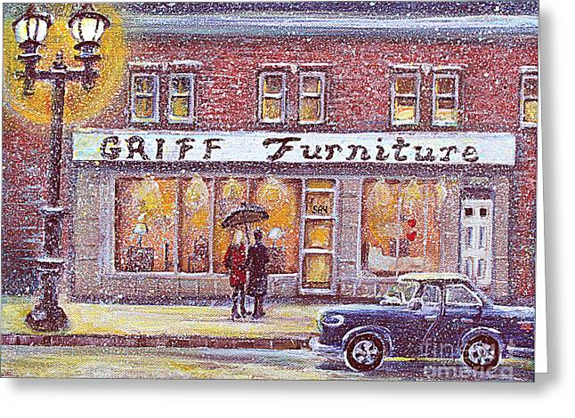 Best Sellers -  - Snowy Day Greeting Cards - Griff Valentines Birthday Greeting Card by Rita Brown