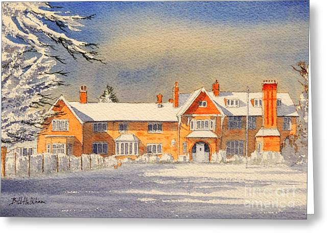 Snow Scene Landscape Greeting Cards - Griffin House School - Snowy Day Greeting Card by Bill Holkham