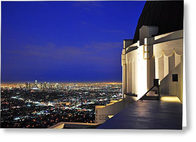Usa Pyrography Greeting Cards - Griffith Observatory and Downtown L.A. Greeting Card by Steffen Schumann