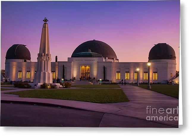 Eddie Yerkish Greeting Cards - Griffith Observatory Greeting Card by Eddie Yerkish