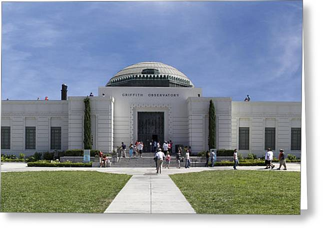 Observatory Greeting Cards - Griffith Observatory - Panoramic Greeting Card by Mike McGlothlen