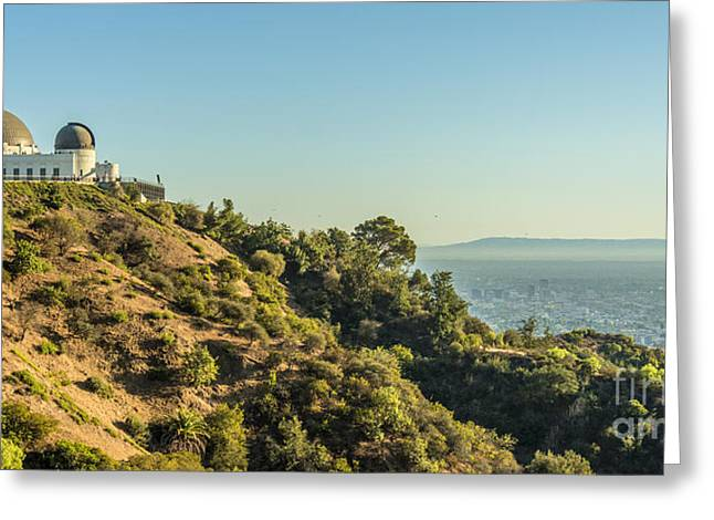 Clear Sky Images Greeting Cards - Griffith Park and Ocean Greeting Card by Clear Sky Images