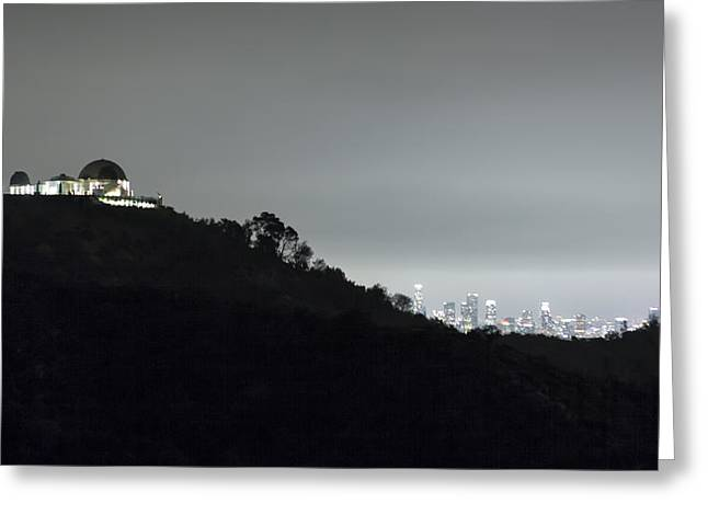 Office Space Greeting Cards - Griffith Park Observatory and Los Angeles Skyline at Night Greeting Card by Belinda Greb