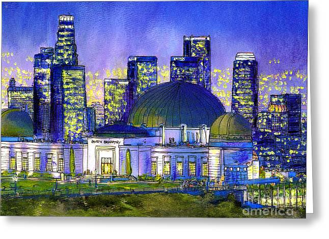 Park Scene Mixed Media Greeting Cards - Griffith Park with LA Nocturne Greeting Card by Randy Sprout