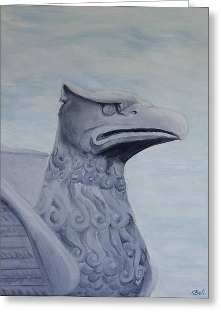 Statue Portrait Paintings Greeting Cards - Griffon Statue Greeting Card by Kathryn Bell