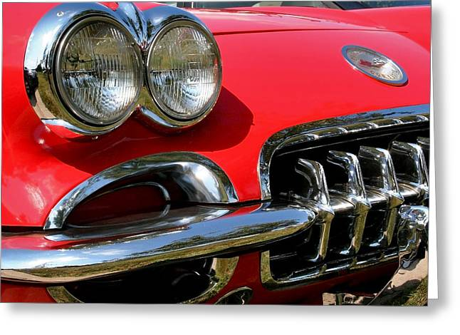 Collector Hood Ornament Greeting Cards - Grille on a 1960 Corvette Greeting Card by LeeAnn White