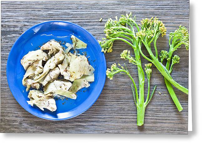 Grilled Artichoke And Brocolli Greeting Card by Tom Gowanlock