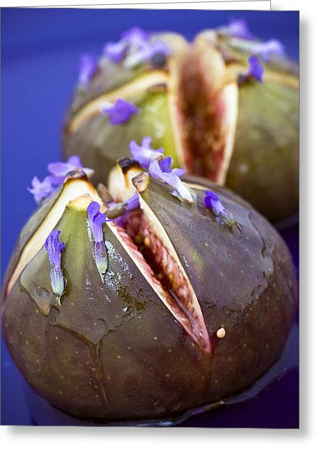 Organic Photographs Greeting Cards - Grilled Figs With Lavender Honey Greeting Card by Frank Tschakert