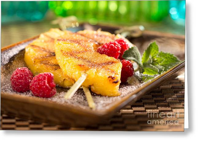 Low-fat Greeting Cards - Grilled Pineapple  Greeting Card by Iris Richardson