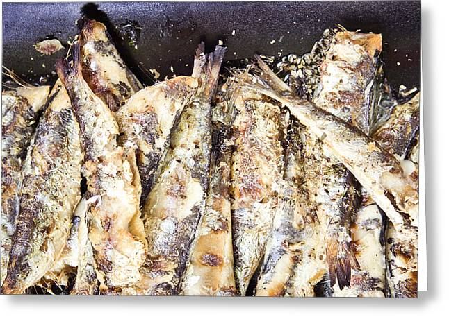 Fries Greeting Cards - Grilled sardines Greeting Card by Tom Gowanlock