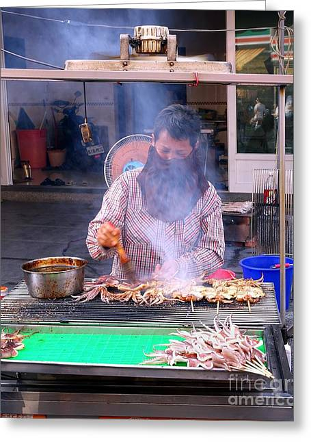 Food Stall Greeting Cards - Grilling Fresh Squid Greeting Card by Yali Shi