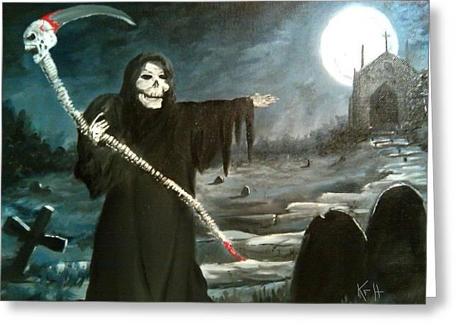 Grim Creeper Greeting Card by Kevin F Heuman