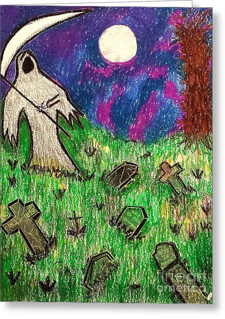Headstones Pastels Greeting Cards - Grim Reaper and Friends Greeting Card by Lisa Byrne