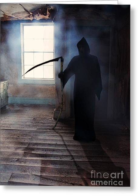 Night Angel Greeting Cards - Grim Reaper Greeting Card by Jill Battaglia