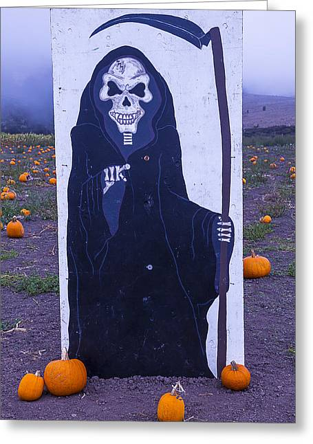 Halloween Sign Greeting Cards - Grim Reaper Sign Greeting Card by Garry Gay