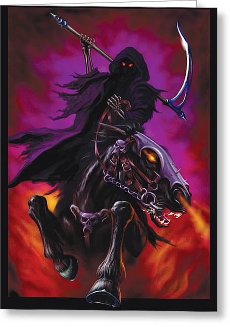 Grim Greeting Cards - Grim Rider Greeting Card by Garry Walton