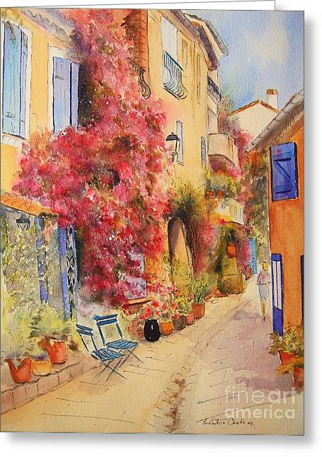 Provence Village Greeting Cards - Grimauld village Greeting Card by Beatrice Cloake