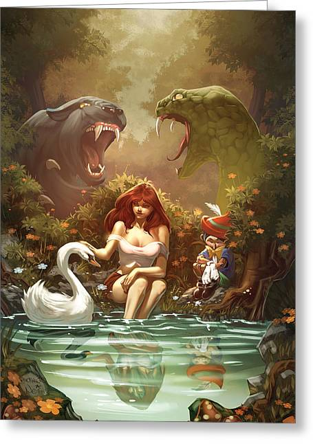 Belinda Greeting Cards - Grimm Fairy Tales Pinocchio and Belinda Greeting Card by Zenescope Entertainment
