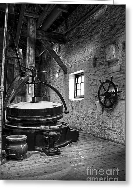Grinder Greeting Cards - Grinder for unmalted barley in an old distillery Greeting Card by RicardMN Photography