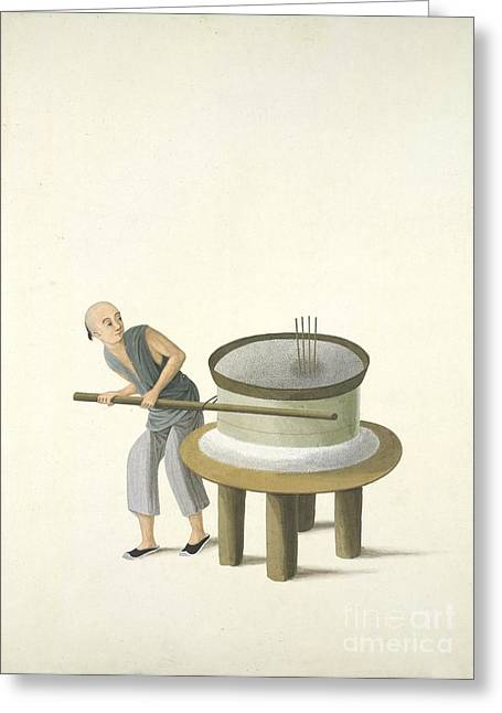 Flour Greeting Cards - Grinding Flour, 19th-century China Greeting Card by British Library