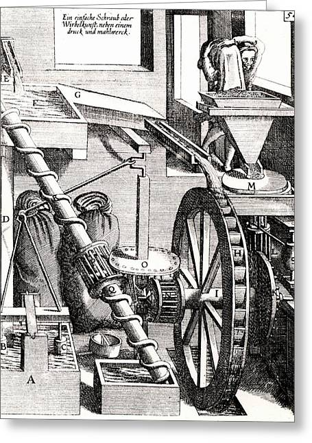 Grinding Mill Driven By Water Wheel Greeting Card by Universal History Archive/uig