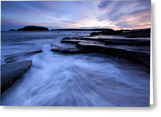 Maine Seascapes Greeting Cards - Grindstone Neck Greeting Card by Patrick Downey