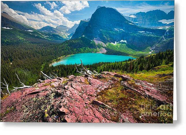 Aster Greeting Cards - Grinnel Lake Greeting Card by Inge Johnsson