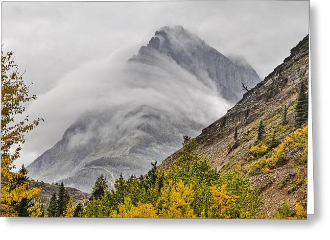 Many Glacier Greeting Cards - Grinnell Cloud Wrap Greeting Card by Mark Kiver